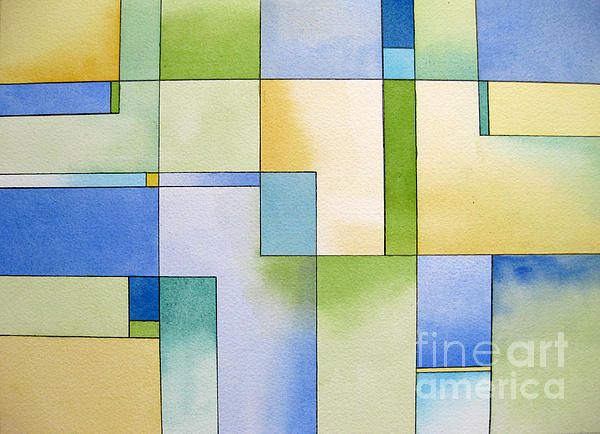 Serenity Watercolor Pen And Ink Geometric Abstract Painting Print by Cherilynn Wood