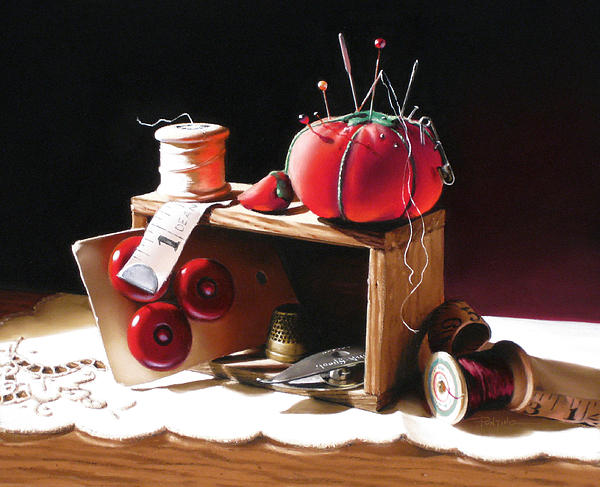 Sewing Box In Reds Print by Dianna Ponting
