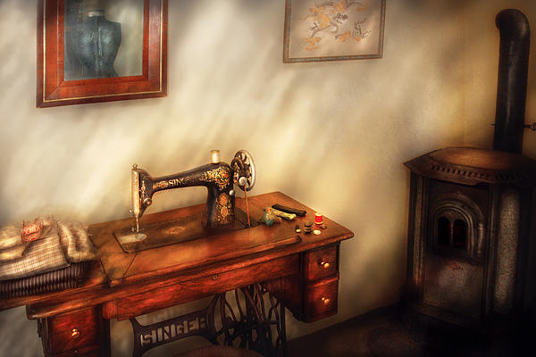 Sewing Machine - Sewing In A Cozy Room  Print by Mike Savad