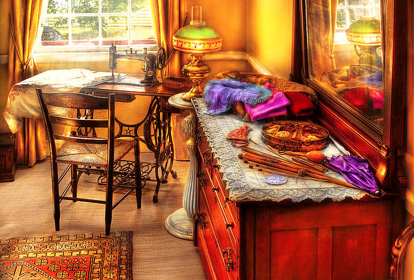 Sewing Machine  - The Sewing Room Print by Mike Savad