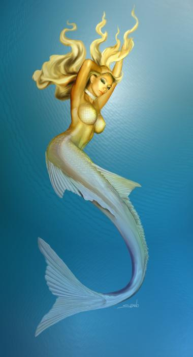 Sexy Mermaid By Spano Print by Michael Spano