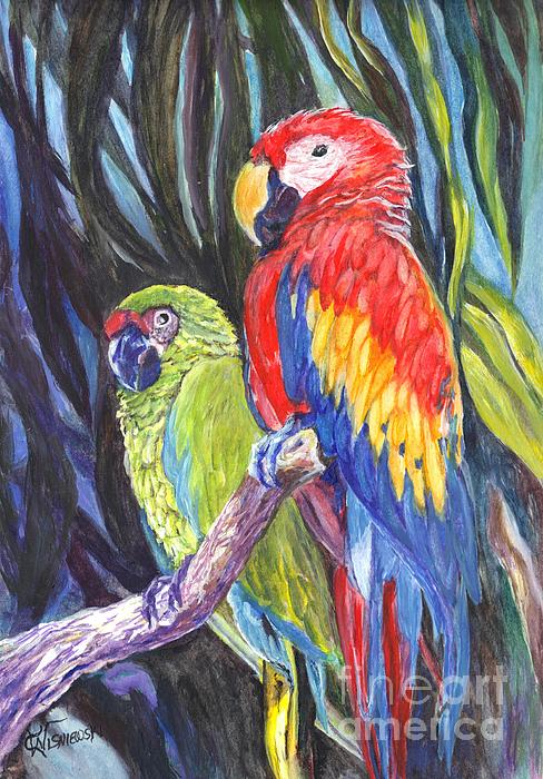 Carol Wisniewski - Sharing a Perch Florida Macaws