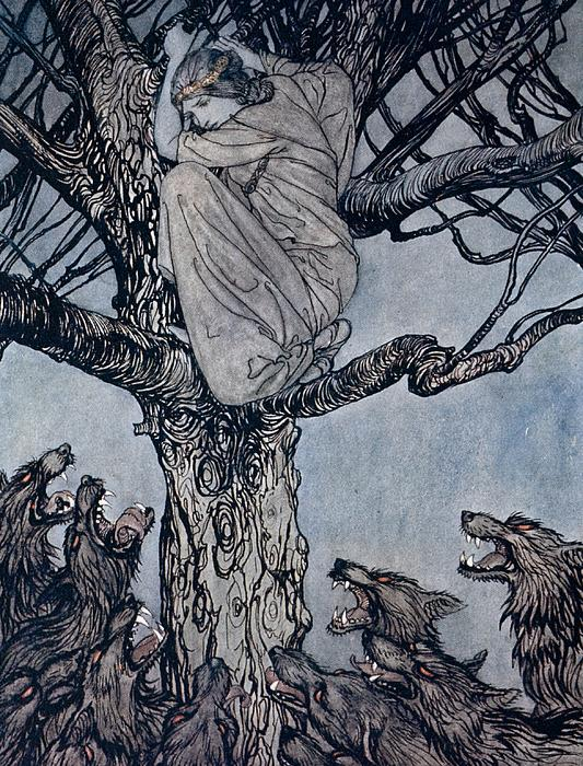 She Looked With Angry Woe At The Straining And Snarling Horde Below Illustration From Irish Fairy Print by Arthur Rackham
