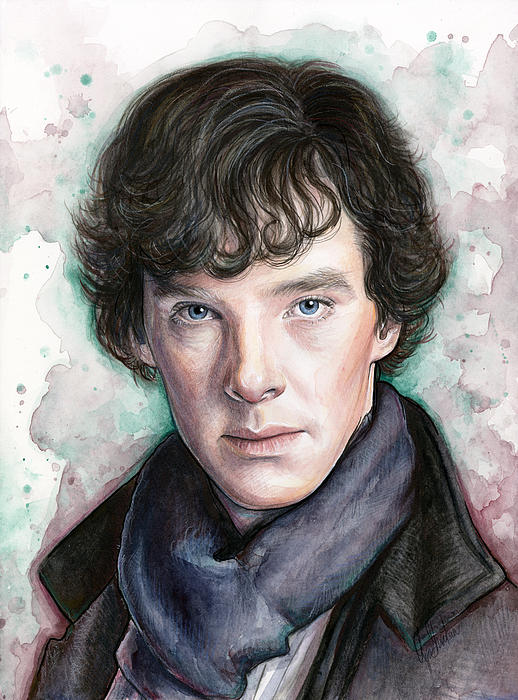 Sherlock Holmes Portrait Benedict Cumberbatch Print by Olga Shvartsur