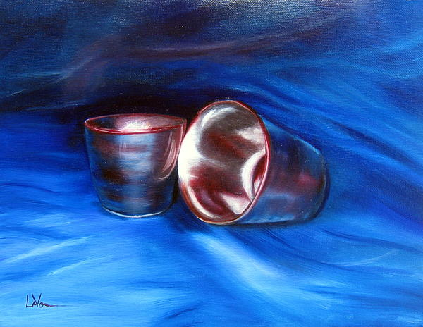 Shiny Metal Cups Study Print by LaVonne Hand