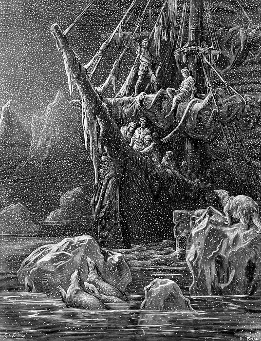 Ship In Antartica Print by Gustave Dore
