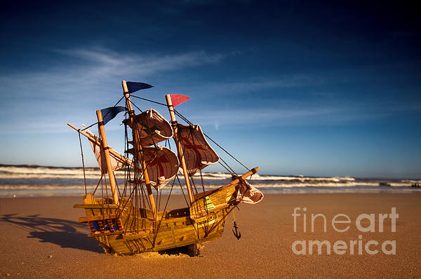 Ship Model On Summer Sunny Beach Print by Michal Bednarek