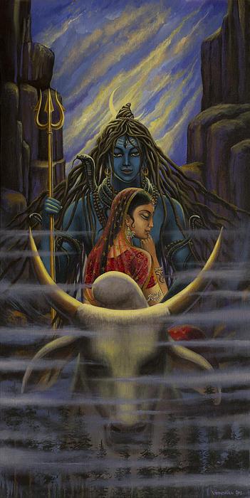 Shiva Parvati. Night In Himalayas Print by Vrindavan Das