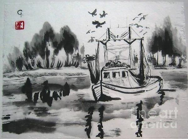 Shrimp Boat Biloxi Print by Jeanel Walker