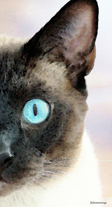 Siamese Cat Art - Half The Story Print by Sharon Cummings