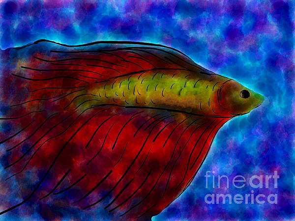 Siamese Fighting Fish II Print by Anita Lewis