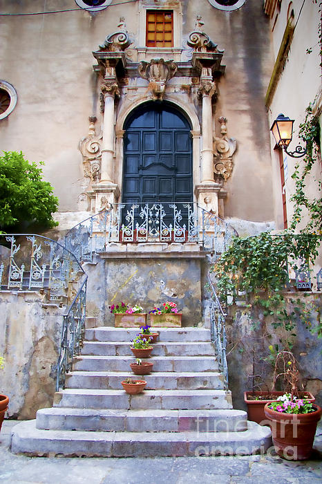 Sicilian Village Steps And Door Print by David Smith