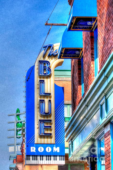 Sign - The Blue Room - Jazz District Print by Liane Wright