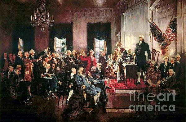 Signing Of The United States Constitution Print by Pg Reproductions