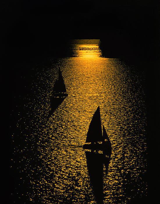 Larry Kjorvestad - Silhouetted Sailboats