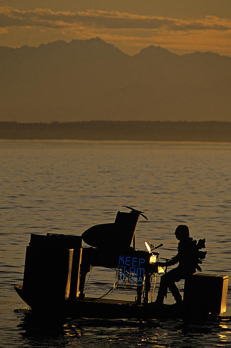 Silhouetted Sea Monster Playing Piano.tif Print by Jim Corwin