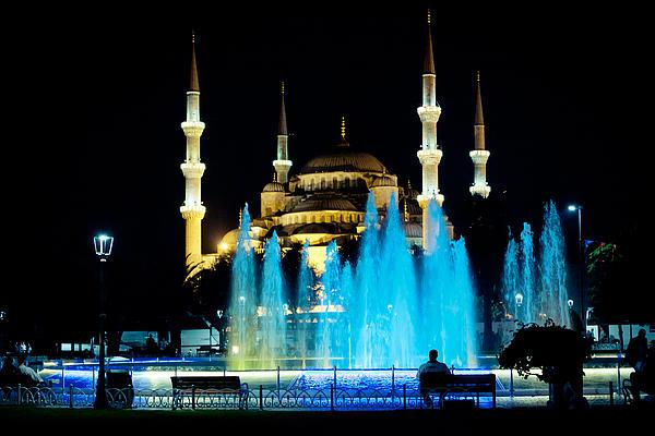 Silhouettes Of Blue Mosque Night View Print by Raimond Klavins