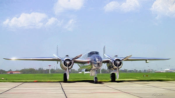 Silver Bird B-25 Print by Peter Chilelli