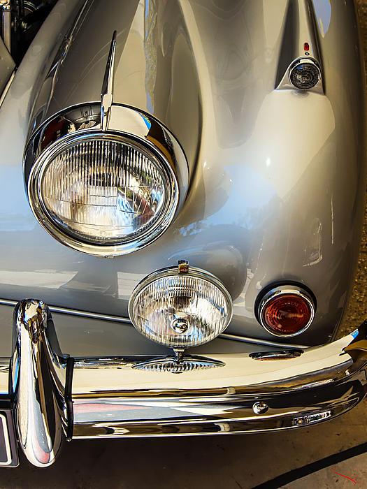 Silver Jaguar Xk 140 Print by SM Shahrokni
