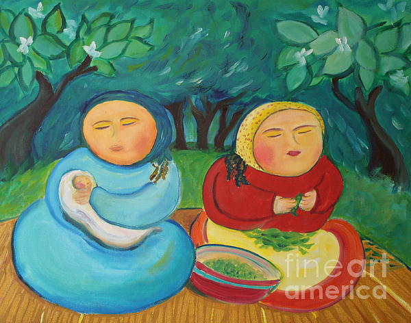 Sisters And Green Beans Print by Teresa Hutto