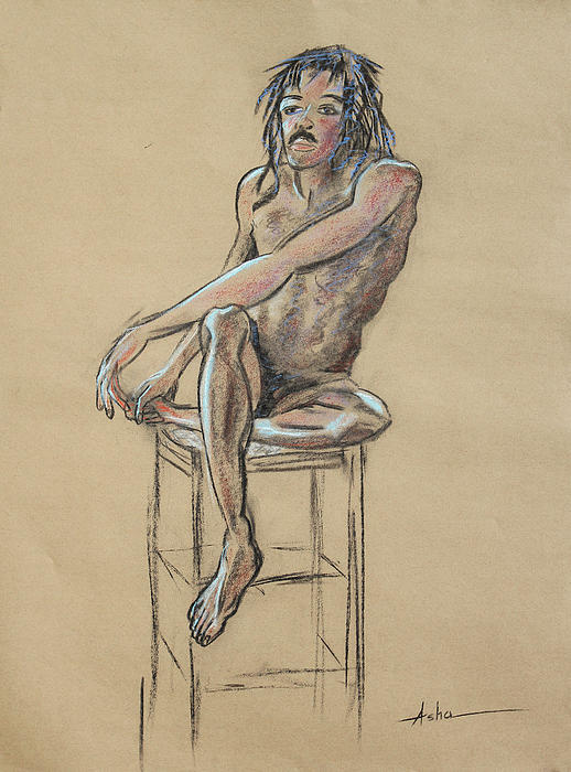 Sitting Man Holding His Foot Print by Asha Carolyn Young