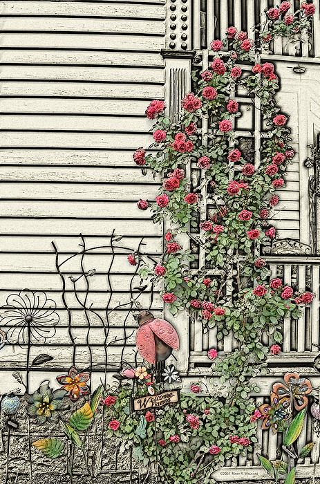 Mary Machare - Sketch of Porch with Climbing Roses