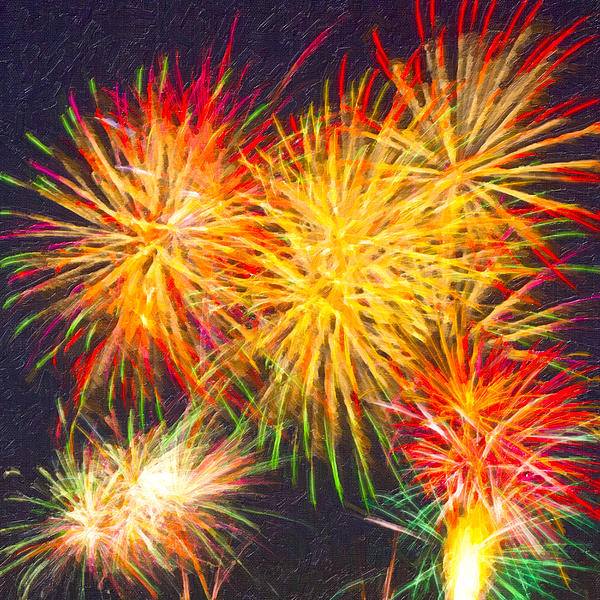 Skies Aglow With Fireworks Print by Mark Tisdale