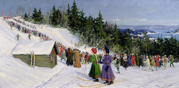 Skiing Competition In Fjelkenbakken Print by Gustav Wentzel