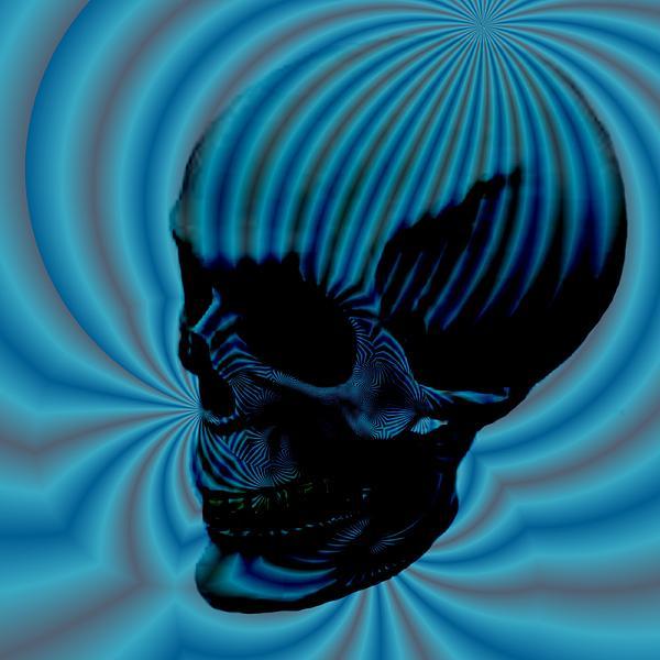 Skull Aura Blue Print by Jason Saunders