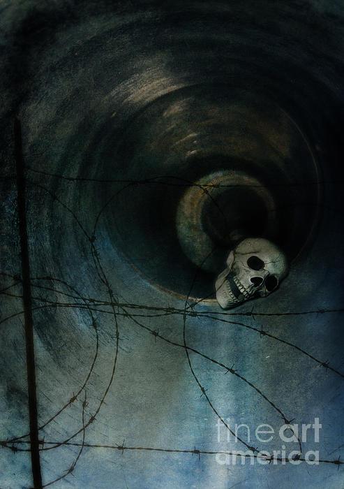 Skull In Drainpipe Print by Jill Battaglia
