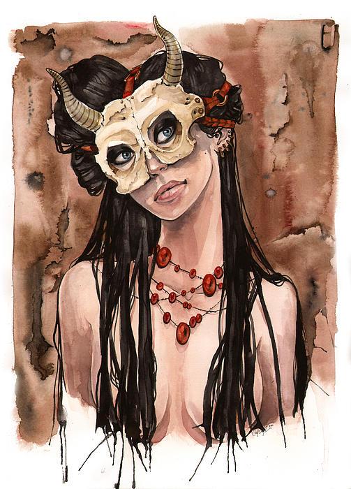 Skull Mask Print by Carla Wyzgala