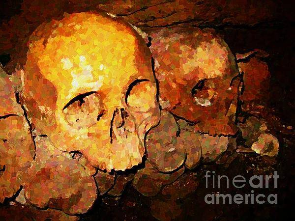 Skulls In The Paris Catacombs Print by John Malone