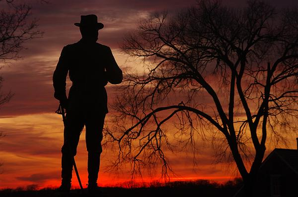Sky Fire - Brigadier General John Buford - Commanding First Division Cavalry Corps Sunset Gettysburg Print by Michael Mazaika