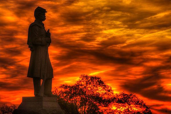 Sky Fire - West Virginia At Gettysburg - 7th Wv Volunteer Infantry Vigilance On East Cemetery Hill Print by Michael Mazaika