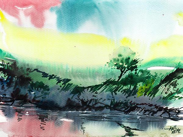 Sky N Lake Print by Anil Nene