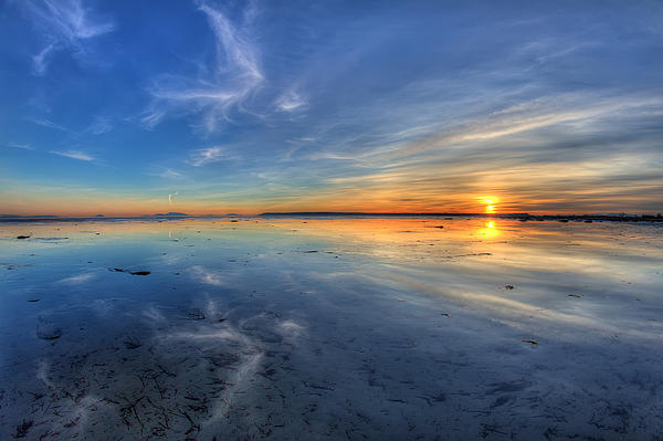 Sky Reflection In Boundary Bay Print by Pierre Leclerc Photography