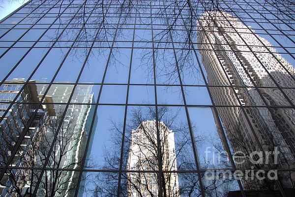 Skyscraper Reflections - Charlotte Nc Print by Shelia Kempf