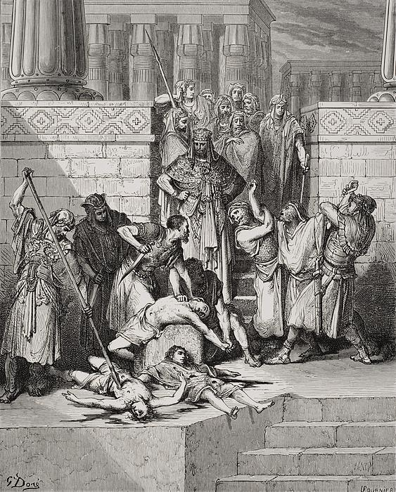 Slaughter Of The Sons Of Zedekiah Before Their Father Print by Gustave Dore