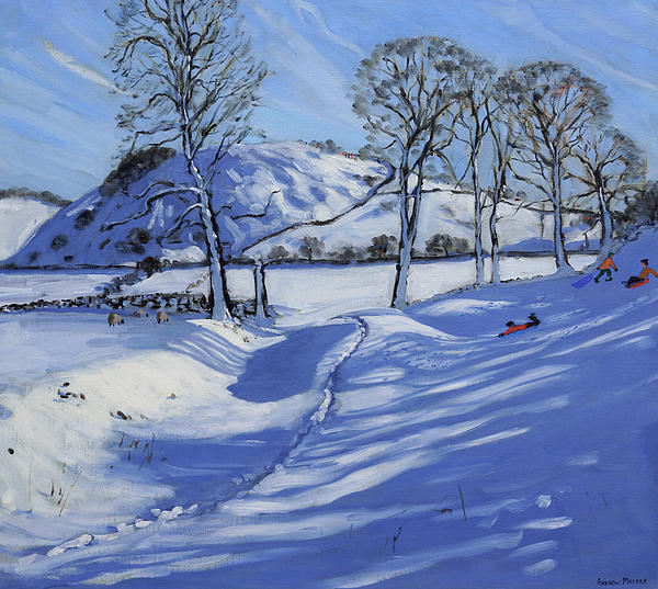 Sledging  Derbyshire Peak District Print by Andrew Macara