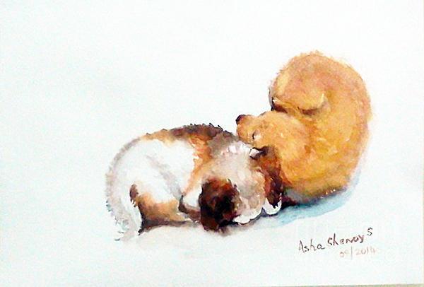 Asha Sudhaker Shenoy - Sleeping puppies