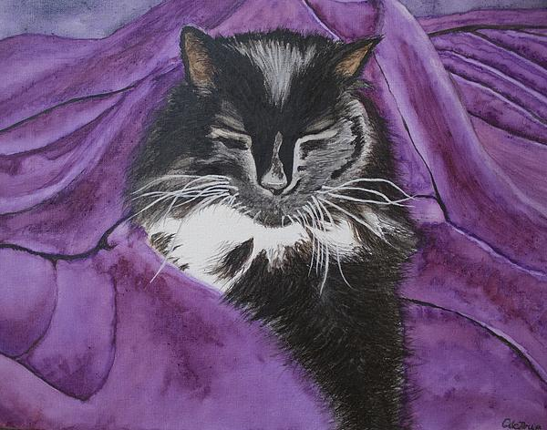 Sleepy Cat Print by Carol De Bruyn
