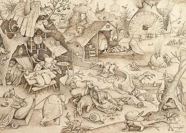 Sloth Pieter Bruegel Drawing Print by