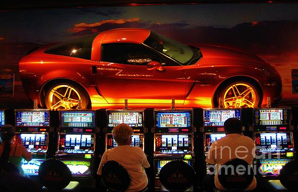Slots Players In Vegas Print by John Malone