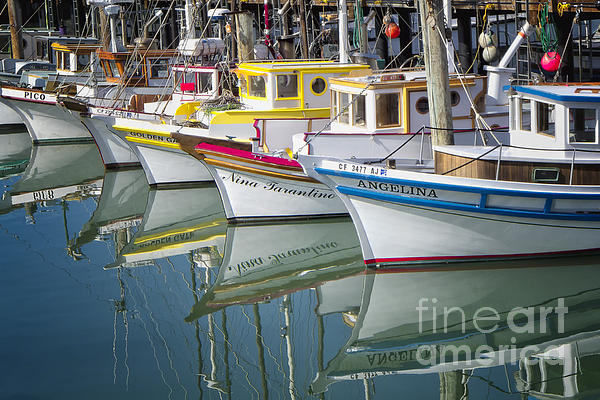 Small Fishing Boats Of San Francisco Print by George Oze
