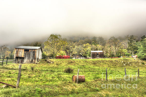 Smalll West Virginia Farm Coming Out Of Clouds Print by Dan Friend