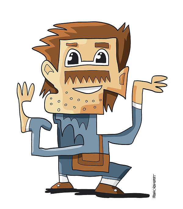 Smart Guy Doodle Character Print by Frank Ramspott