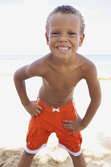 Smiling Boy On Beach Print by Kicka Witte