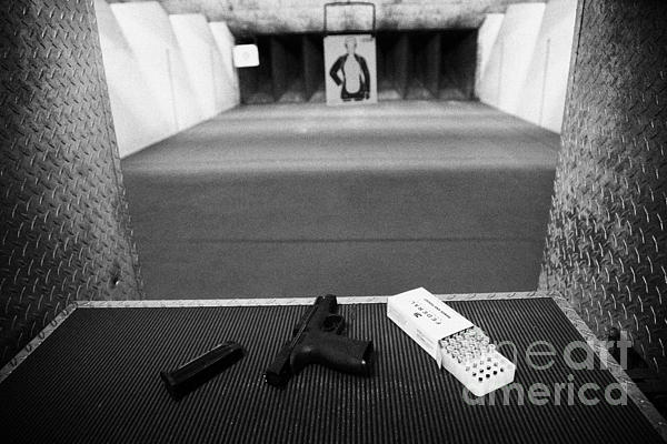 Smith And Wesson 9mm Handgun With Ammunition At A Gun Range In Florida Print by Joe Fox
