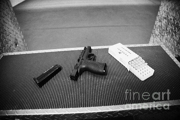 Smith And Wesson 9mm Handgun With Ammunition At A Gun Range In Florida Usa Print by Joe Fox