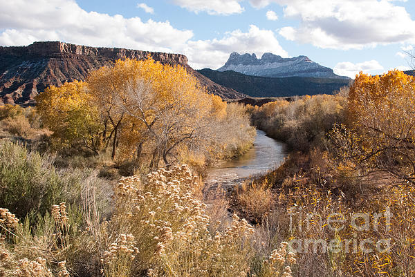 Smithsonian Butte And Early Snows Along The Virgin River Utah Print by Robert Ford